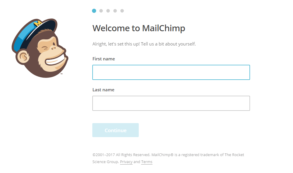 registracia mailchimp