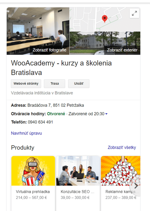local business features google wooacademy workshopy