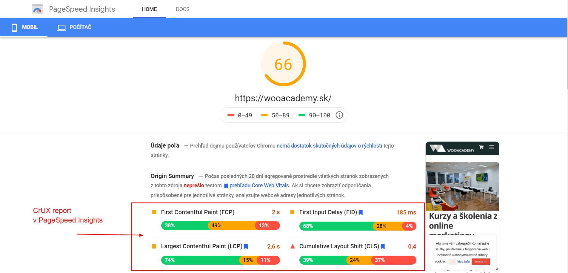 CrUX report rýchlosti webu
