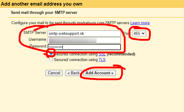 nastavenie SMTP servera na gmaile